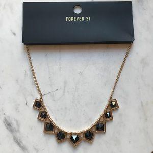 Forever21 Geometric Black & Gold Bib Necklace NWT